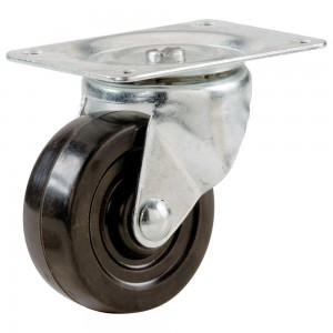"4""(D) Heavy Duty Swivel Plate and Grey Urethane Wheel"