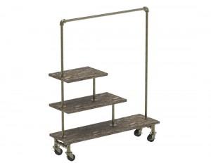 Rolling Rack W/Wooden Shelf